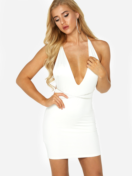 White Deep V-neck Backless Sleevesless Dress