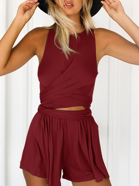 Sweet Drawing Waist Cross Front Playsuits in Burgundy