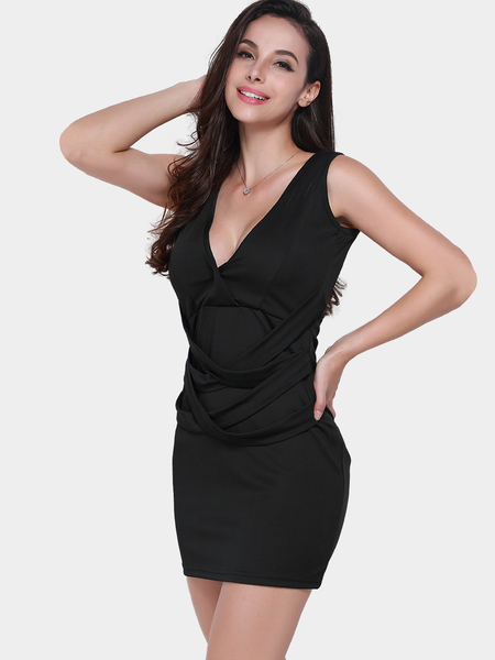 Black Plunge V-neck Sleeveless Crossed Straps Bodycon Dress