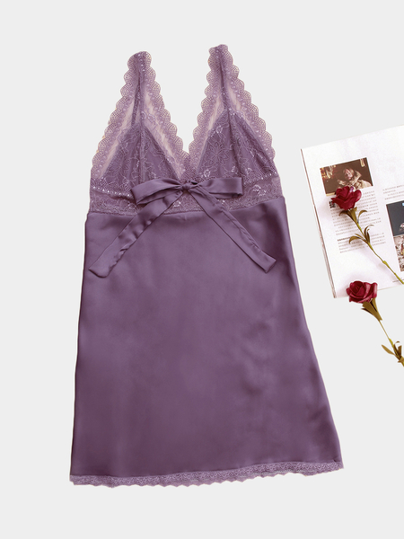 Purple V-neck Bowknot Front Lace Slip Pajamas