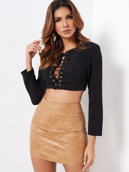 Black Lace-up Design Long Sleeves Crop Top