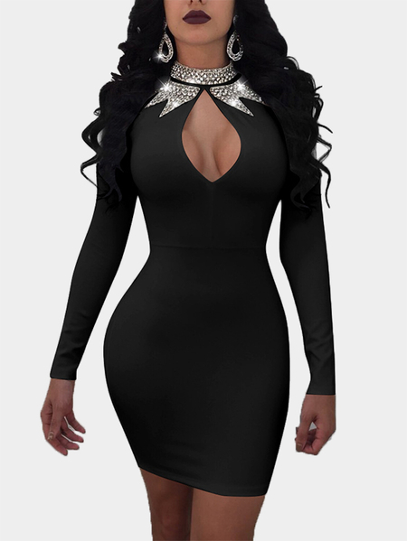 Black sexy Crystal Embellished Crew Neck Long sleeves Mini Dress