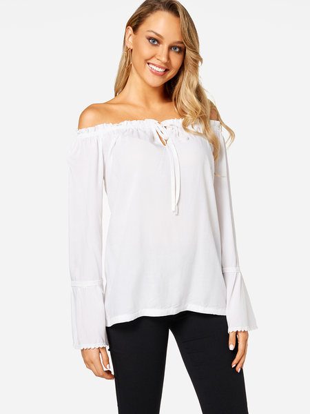 White Self-tie Front Off Shoulder Flared Sleeves Blouse