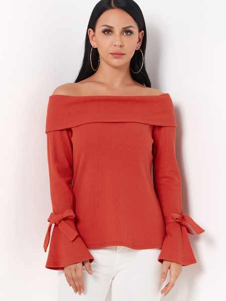 Orange Off Shoulder Bell Sleeves Tie-up Design Sweater