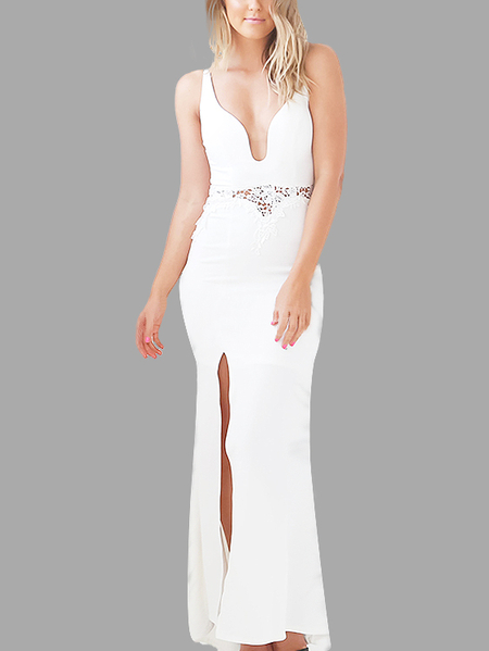White V-neck Sleeveless Slit Hem Waist Cut-out Dress