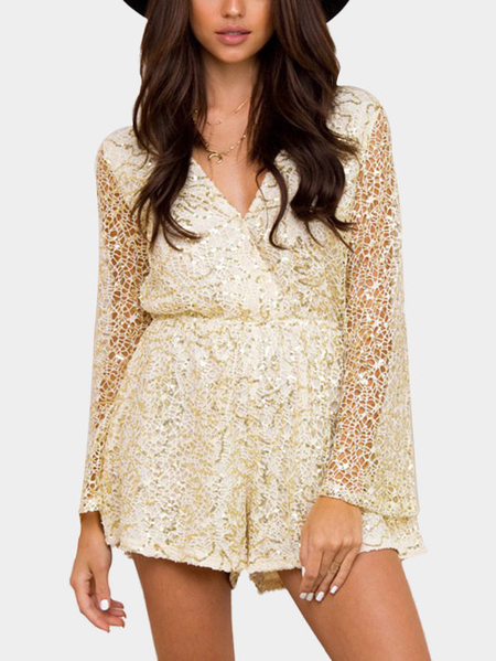 Beige Sexy V-neck Sequins Embellished Lace Playsuit