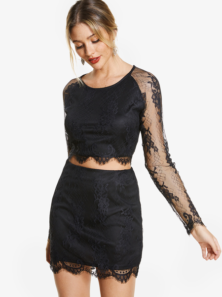 Black See Through Design Lace Crew Neck Long Sleeves Tassel Hem Top