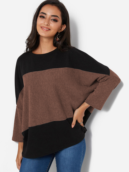 Coffee Crew Neck Dolman Sleeve Loose Sweater