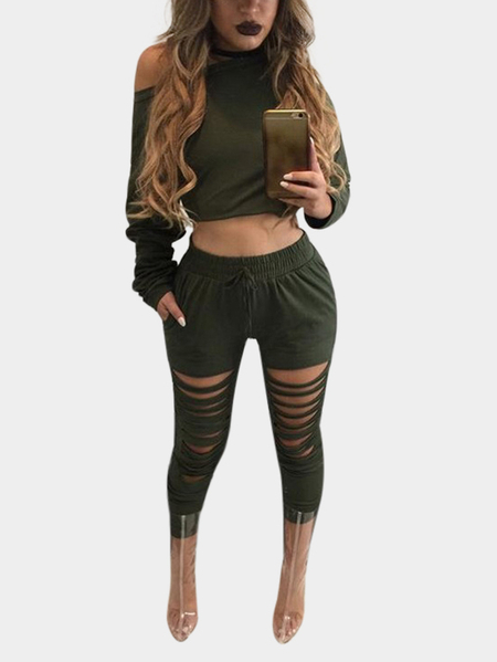 Armygreen Two Piece Outfits with Cut Out Details
