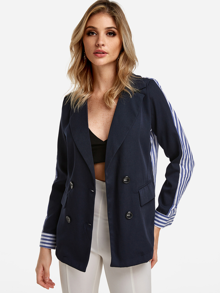 Navy Stripe Pockets Fashion Trench Coat