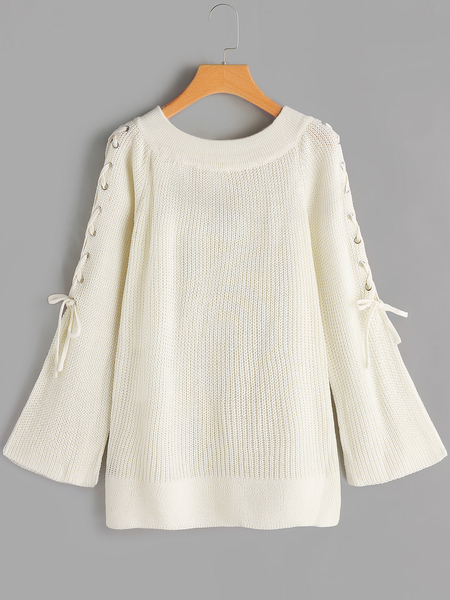 Beige Lace-up Design Off The Shoulder Bell Sleeves Sweater