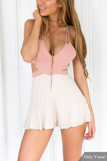 Sexy V-neck Open Back Playsuit with Cut Out Details