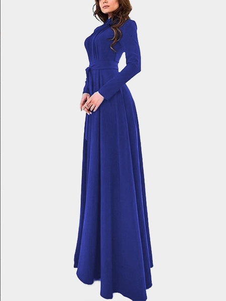 Royal Mock Neck Long Sleeves Ladies Style Maxi Dress