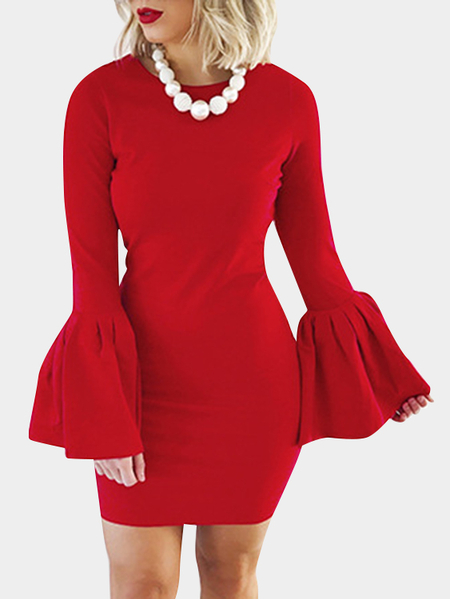 Red Solid Color Flared Sleeves Bodycon Mini Dresses