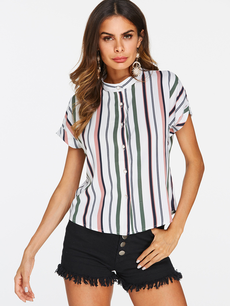 Stripe Pattern Single Breasted Design Round Neck Blouses