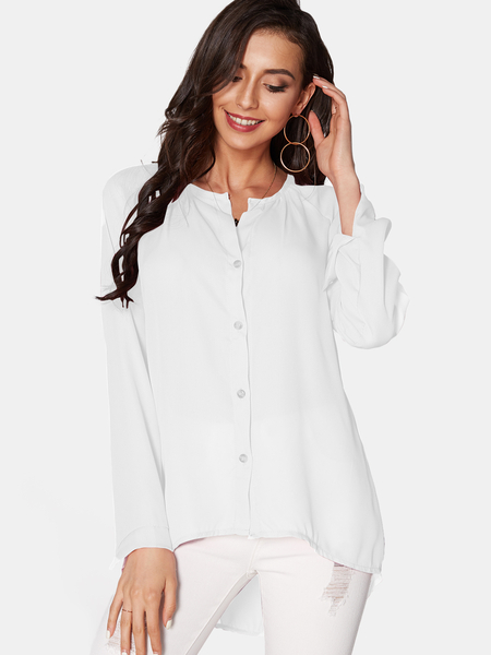 White Cozy V-neck Long Sleeves Button-down Chiffon Blouse