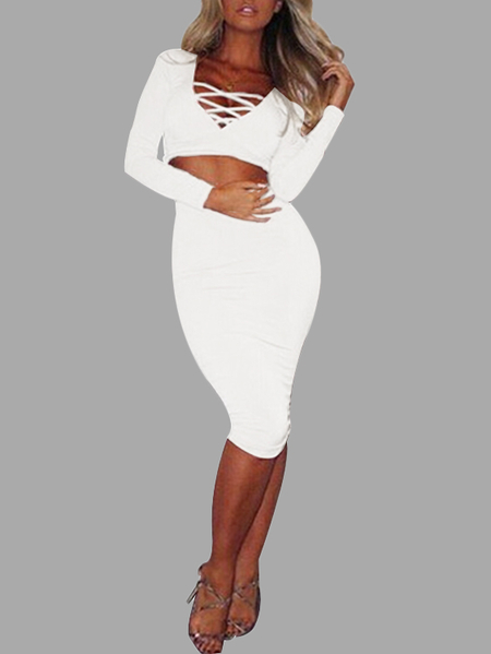 White Lowcut V-neck Criss-cross Front Bodycon Two Piece Outfits