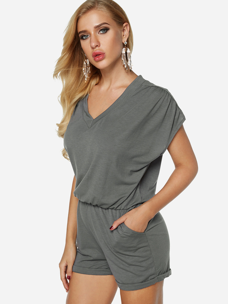 Grey V-neck Short Sleeves Drawstring Waist Playsuit