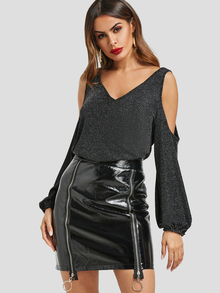 Black Metallic Shimmer Cutout Cold Shoulder Puff Sleeve Top