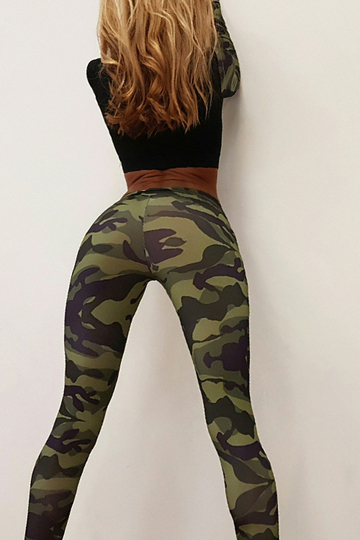 Camouflage Long Sleeves Bodycon Crop Top