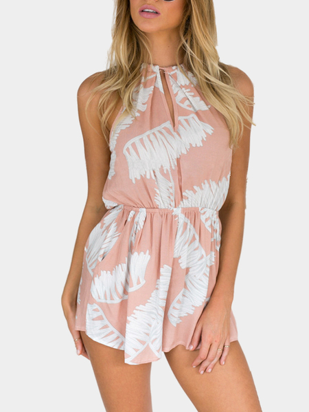 Printing Self-tie Back Playsuit with Side Pockets