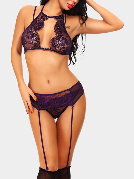 Purple Cut Out Front Design Elastic Strap Lace Lingerie Set