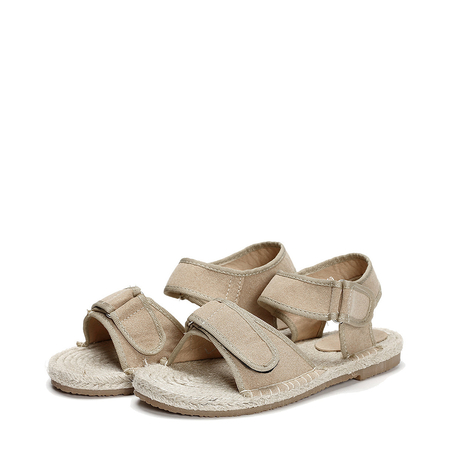 Yoins Apricot Hemp Rope Suede Flat Sandals