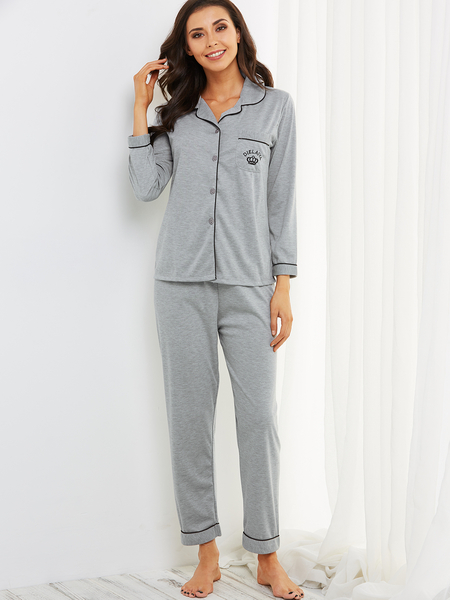 Grey Button Down Pocket Front Long Sleeves Pajama Set