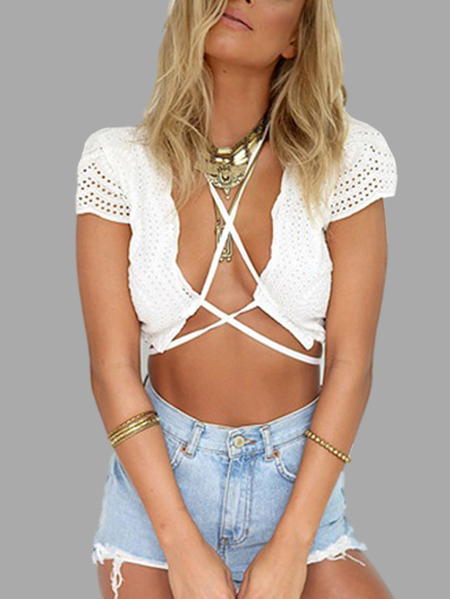 White Sweet Open Front Cross Strappy Design Crop Top