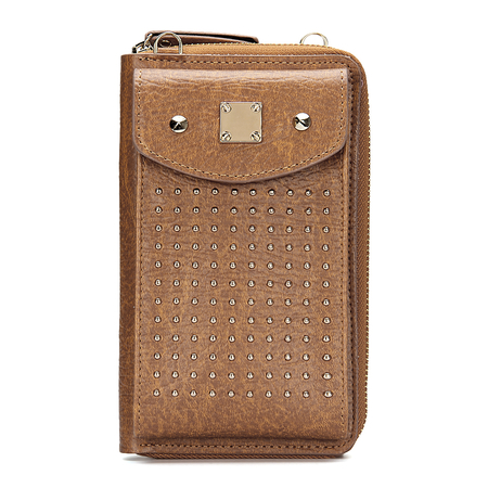 Brown Foldover Leather-look Zipper Mobile Purse in Brown