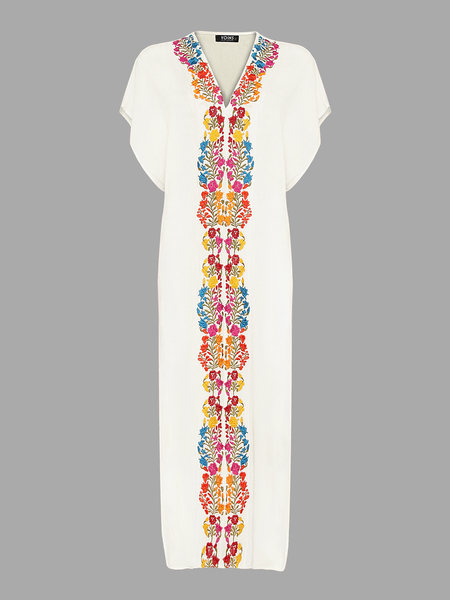 Maxi Dress with Floral Embroidery and Thigh High Splits