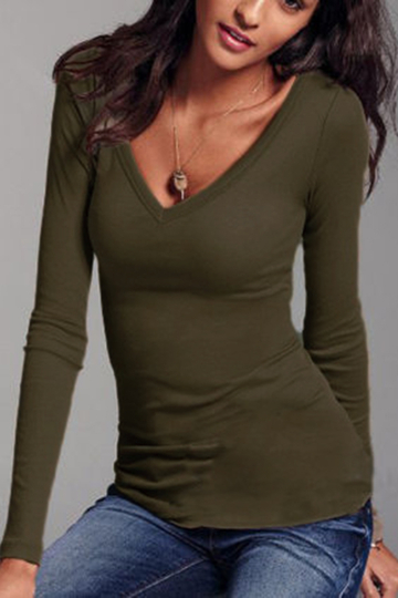 Army Green V-neck Long Sleeves T-shirt