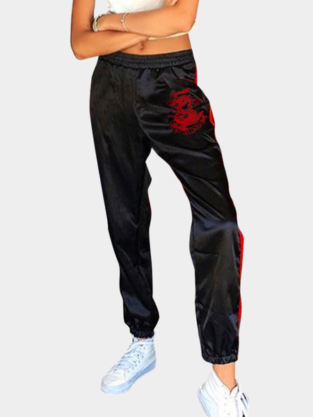 Active Embroidered Design Stitching Design Sports Pants in Black