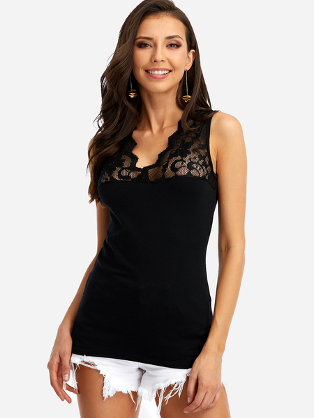 Black V-neck Lace Insert Top