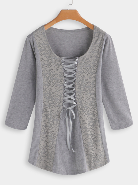 Grey Lace Patchwork Scoop Neck Lace up 3/4 Length Sleeves T-shirts