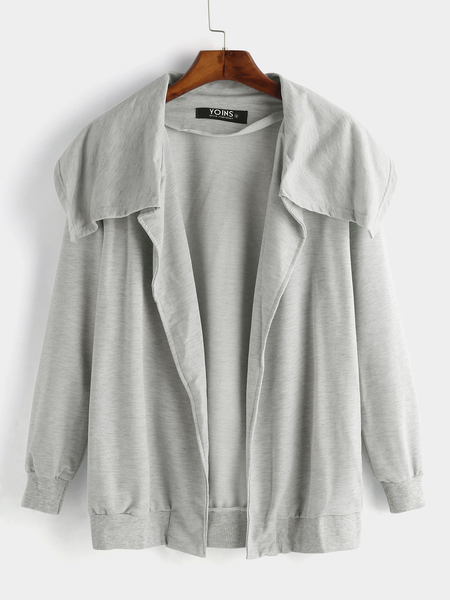 Grey Wide Lapel Side Pocket Design Fashion Coat