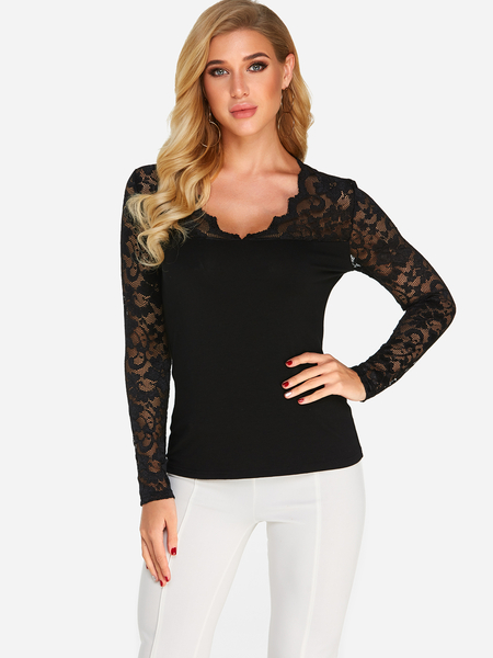 Black Lace Insert Long Sleeves V-neck T-shirt