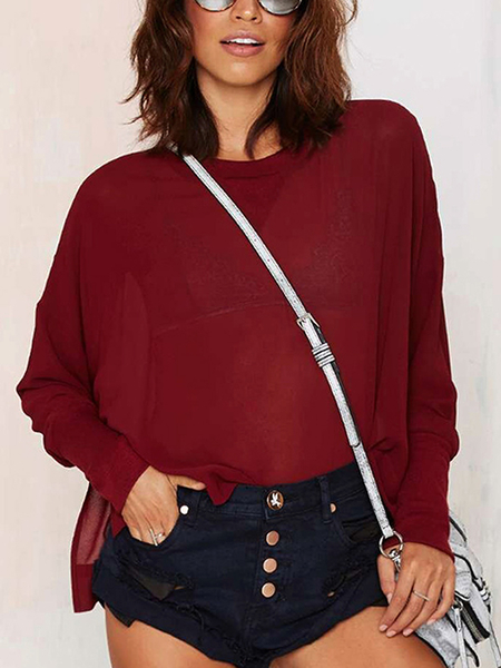 Sheer Bat Sleeve Top with Side Split