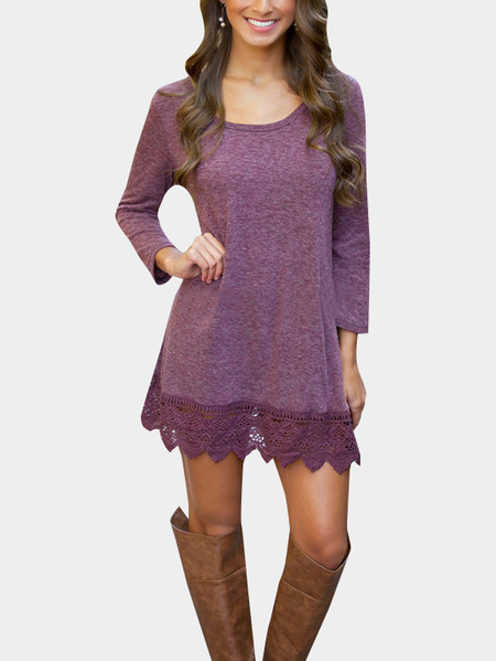 Purple Fashion Lace Hem Mini Dress