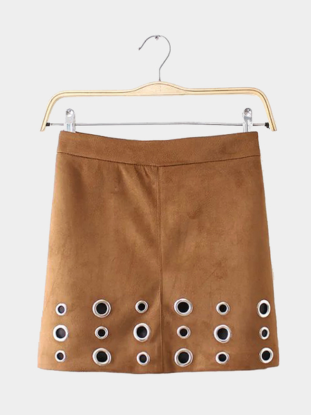 Khaki High-rise Waist Suede Skirt with Eyelet Detail