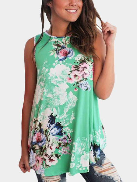 Green Casual Round Neck Pleated Hem Floral Print Top