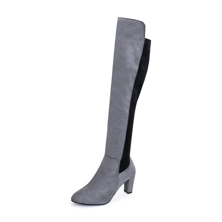 Grey Suede Stitching Design Over The Knee Boots
