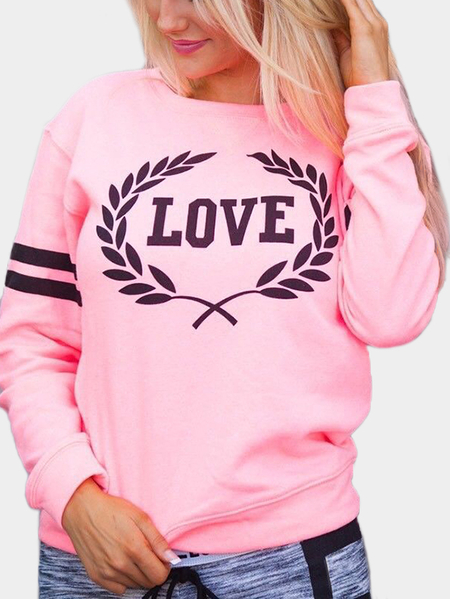 Pink Letter Pattern Round Neck Long Sleeves Sweatshirts