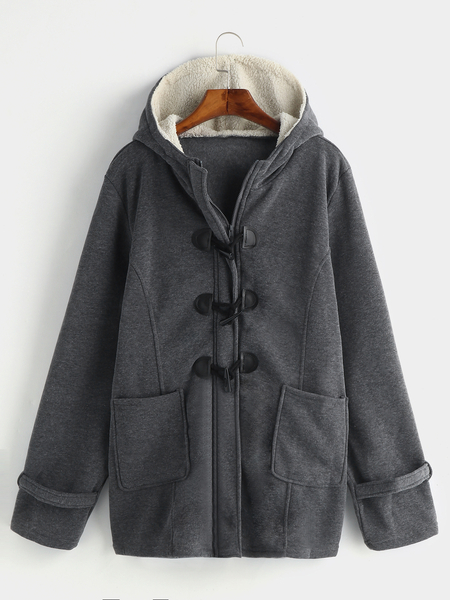 Plus Size Grey Hooded Horn Buckle Coat