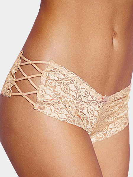 Beige Criss Cross Side Lace Panties