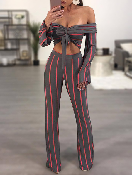 Grey & Red Stripe Off-The-Shoulder Overaly Two Piece Outfits
