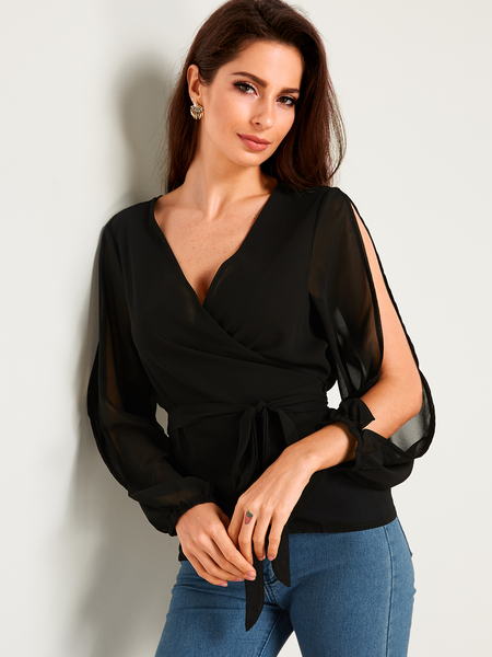 Black Belt Design V-neck Lantern Sleeves Blouses