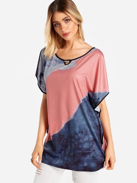 Color Block Round Neck Bat Sleeves T-shirt