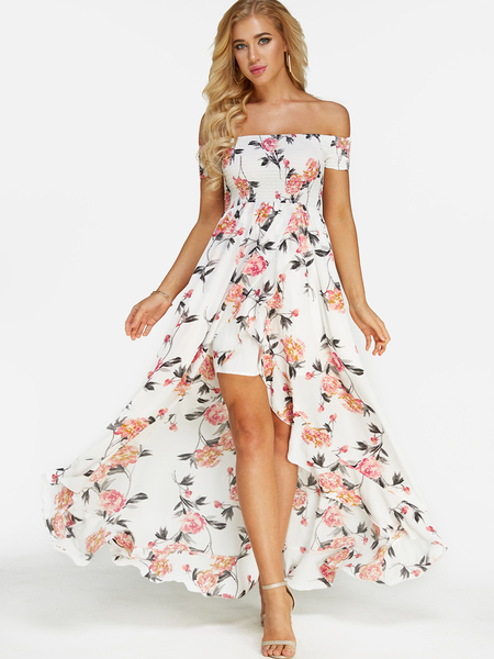 White Random Floral Print Off Shoulder Maxi Dress