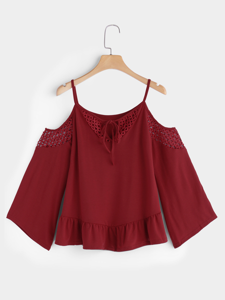 Red Hollow Detials Cold Shoulder Lace Up Details Long Flared Sleeves Blouse